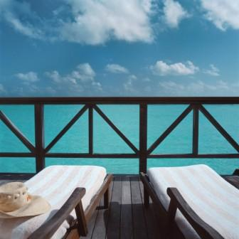 relaxing sea scene with lounger